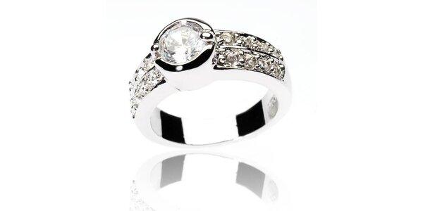 Dámský stříbrný prsten Bague a Dames se zirkony a bílým krystalem