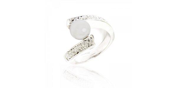 Dámský stříbrný prsten Bague a Dames s imitací perly