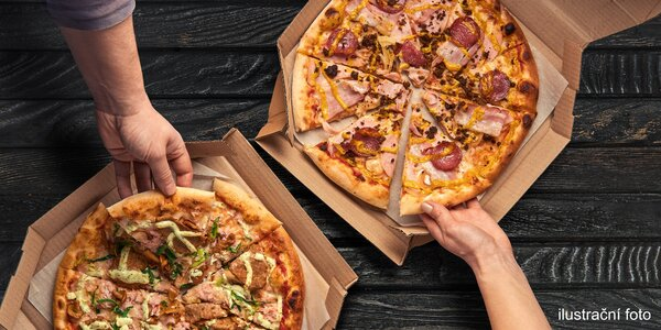 Dvě pizzy podle výběru s rozvozem po Brně
