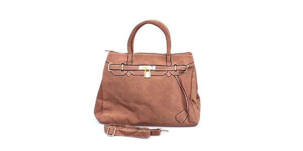Dámská hnědá kabelka s potiskem zlatého zámečku London Fashion