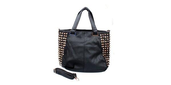 Dámská černá kabelka s cvočky na bocích London Fashion