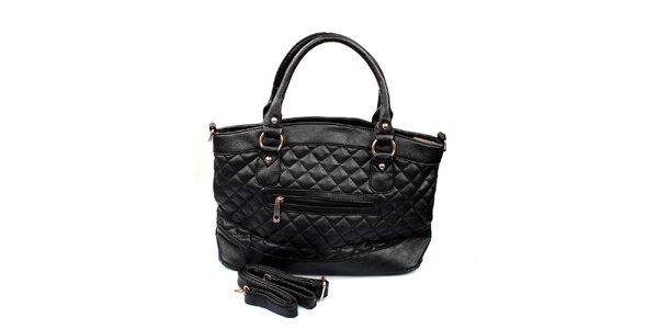 Dámská černá kabelka London Fashion s prošíváním