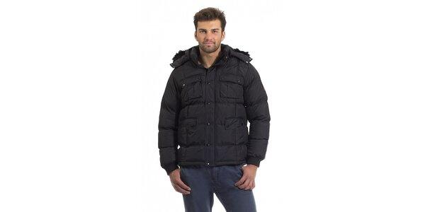 Pánská černá prošívaná péřová bunda Bleifrei s kožíškem