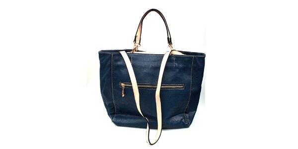 Dámská modrá kabelka London Fashion se světlými uchy