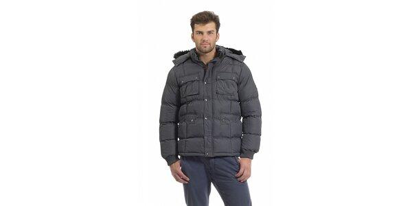 Pánská tmavě šedá prošívaná péřová bunda Bleifrei s kožíškem