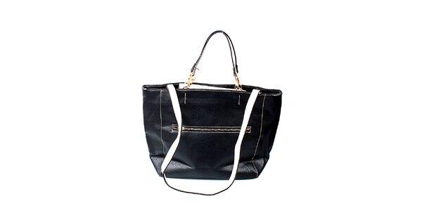 Dámská černá kabelka London Fashion se světlými uchy