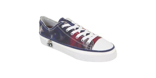 Kotníčkové šněrovací zip-on boty Zipz s motivem americké vlajky