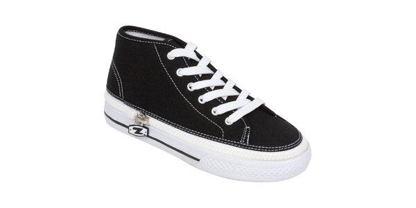 Vyšší černé šněrovací zip-on boty Zipz