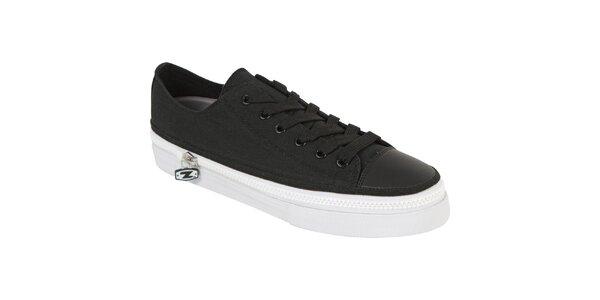 Černé šněrovací zip-on boty Zipz s černými tkaničkami