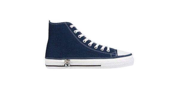 Džínově modré kotníčkové šněrovací zip-on boty Zipz
