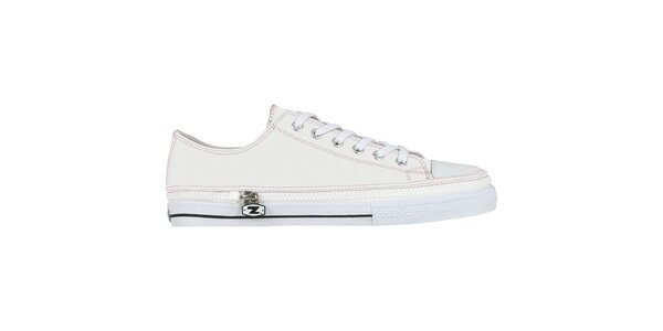 Bílé šněrovací zip-on boty Zipz