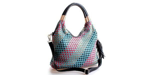 Dámská světle modrá kabelka Belle & Bloom s barevnými proužky
