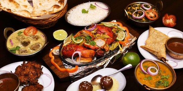 Rozmanité chutě Indie: malé či velké menu pro dva