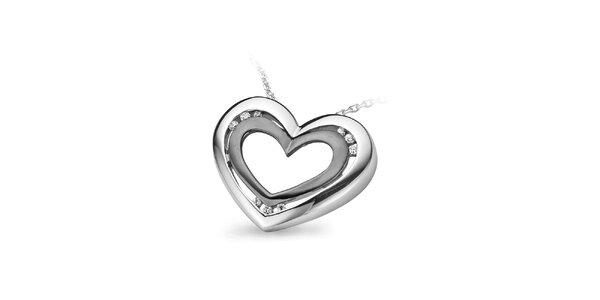 Dámský stříbrný náhrdelník ve tvaru srdce Orphelia