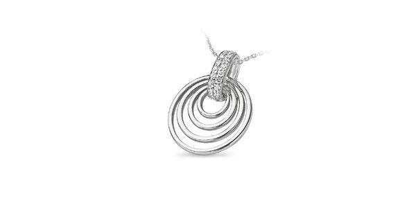 Dámský stříbrný náhrdelník s kruhy Orphelia