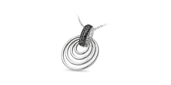 Dámský stříbrný náhrdelník s kruhy Orphelia s černými zirkony