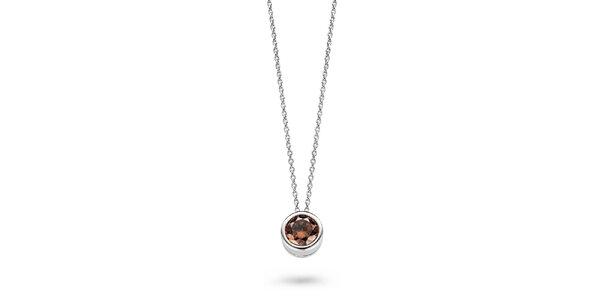 Dámský stříbrný náhrdelník s hnědým kamínkem Orphelia