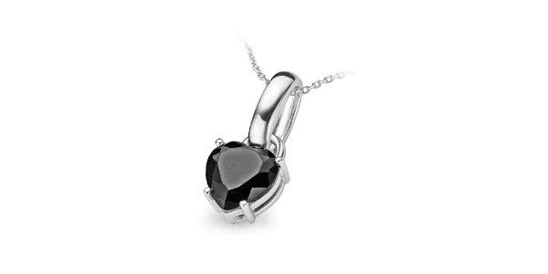 Dámský stříbrný náhrdelník s velkým černým srdcem Orphelia
