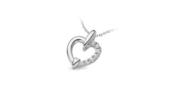 Dámský stříbrný srdíčkový náhrdelník Orphelia