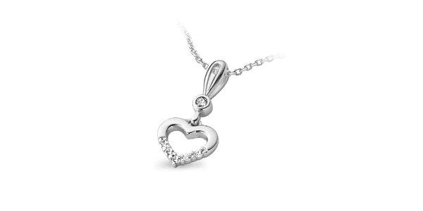 Dámský stříbrný náhrdelník s malým srdíčkem Orphelia