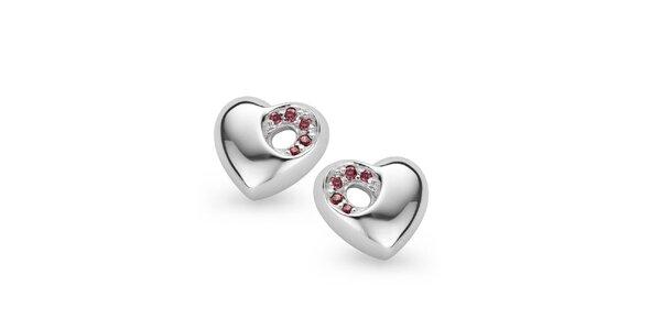 Stříbrné srdíčkové náušnice s růžovými kamínky Orphelia