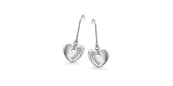 Dámské stříbrné srdcové náušnice Orphelia se zirkony