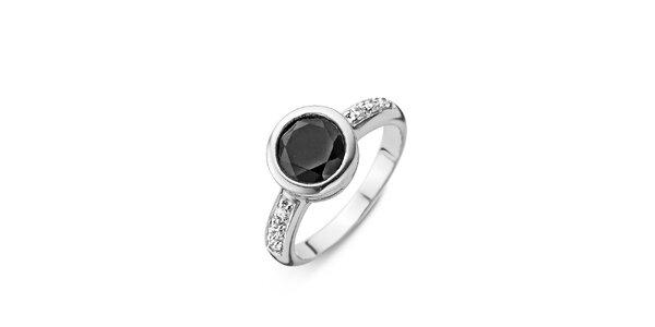 Dámský stříbrný prsten s černým kamínkem Orphelia