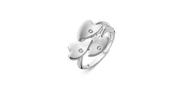 Dámský stříbrný prstýnek se srdíčky Orphelia