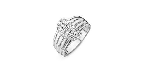 Dámský stříbrný prsten s průhlednými zirkony Orphelia