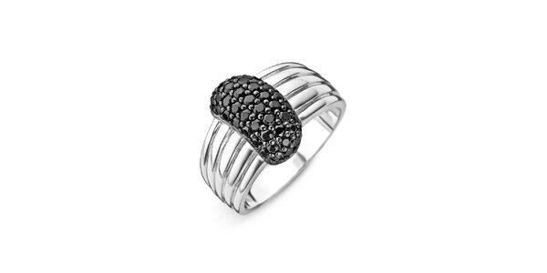 Dámský stříbrný prsten s černýmii zirkony Orphelia