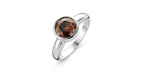 Dámský stříbrný prsten s hnědým kamínkem Orphelia