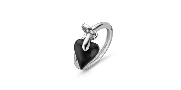 Dámský stříbrný prsten s černým srdíčkem Orphelia