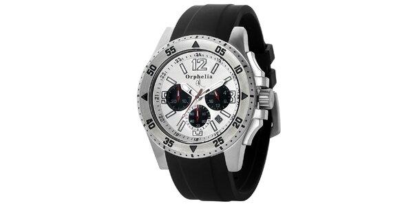Pánské sportovně-elegantní ocelové hodinky s černým řemínkem Orphelia ve…
