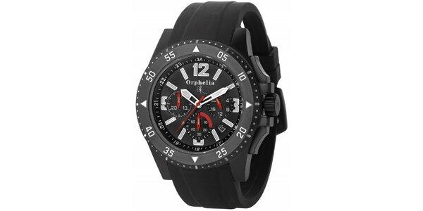 Pánské sportovně-elegantní ocelové hodinky černé Orphelia