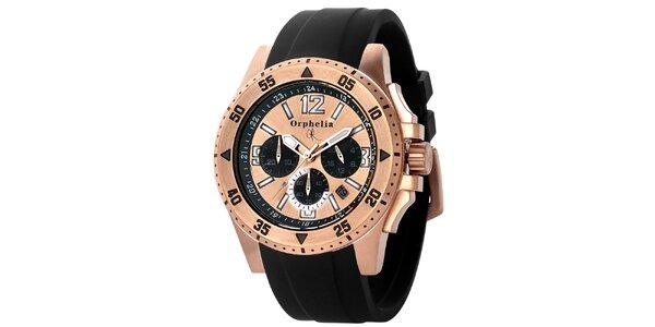 Pánské sportovně-elegantní ocelové hodinky s černým řemínkem Orphelia