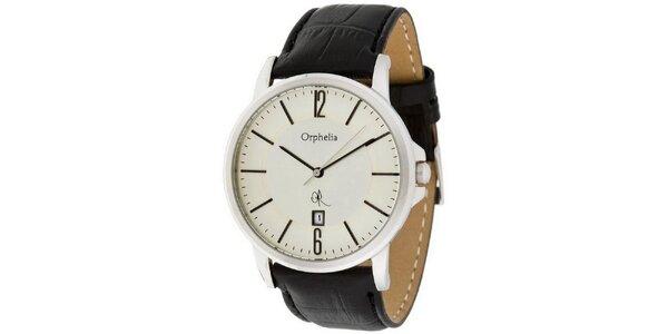 Pánské ocelové hodinky s bílým ciferníkem Orphelia s koženým řemínkem