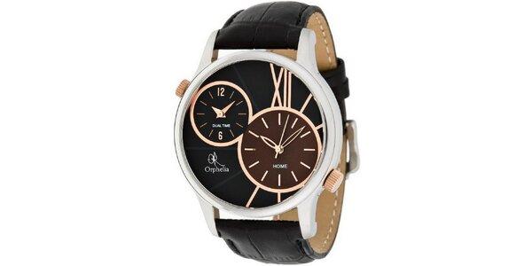 Pánské černé ocelové hodinky s duálním ciferníkem Orphelia