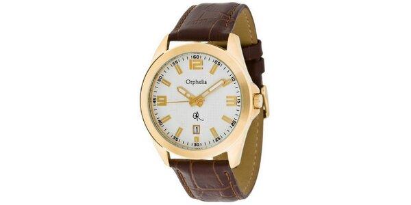 Pánské ocelové hodinky Orphelia ve zlaté barvě