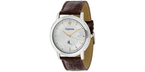 Pánské ocelové hodinky Orphelia s hnědým řemínkem