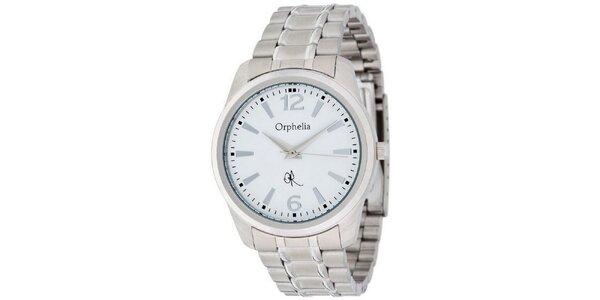 Pánské hodinky Orphelia s bílým ciferníkem a kovovým řemínkem