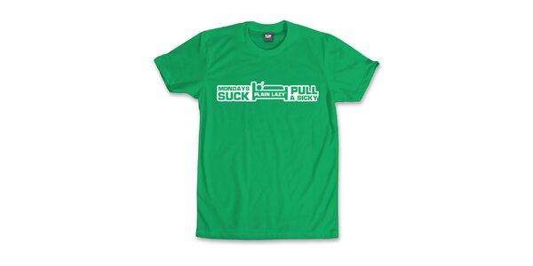 Pánské zelené tričko Plain Lazy