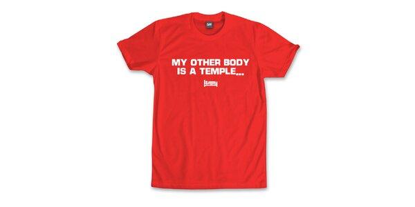 Pánské červené tričko s potiskem Plain Lazy