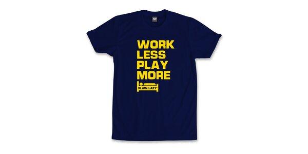 Pánské tmavě modré tričko s vtipným potiskem Plain Lazy