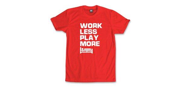 Pánské červené tričko s vtipným potiskem Plain Lazy
