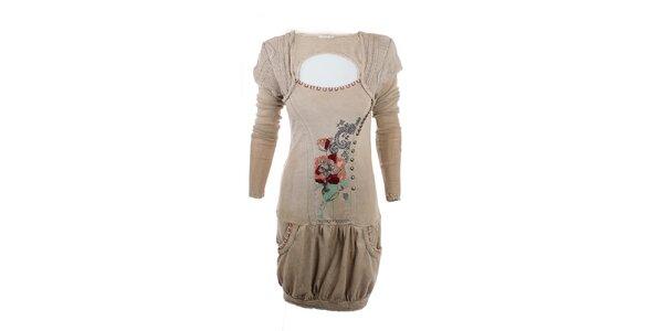 Dámské světlé khaki šaty s výšivkou Angels Never Die