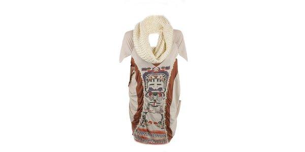 Dámské béžové šaty s aztéckým vzorem a odjímatelným rolákem Angels Never Die