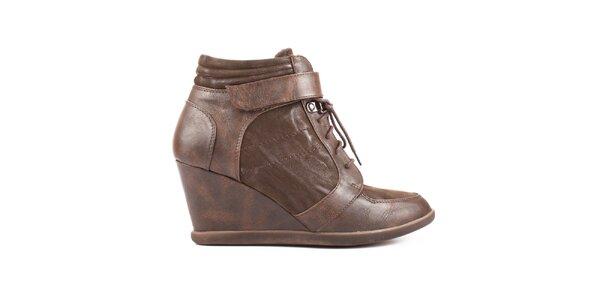Dámské hnědé šněrovací boty s podpatkem Elite