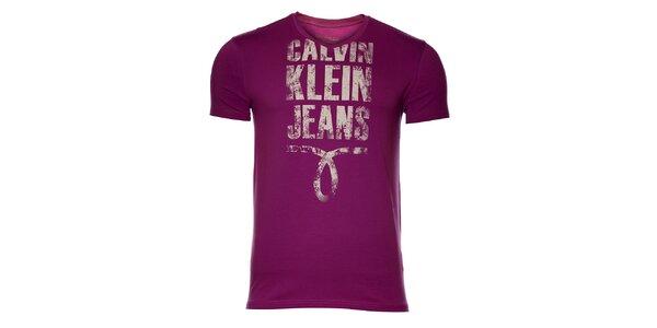 Pánské fialové tričko Calvin Klein s potiskem