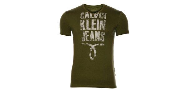 Pánské khaki tričko Calvin Klein s potiskem