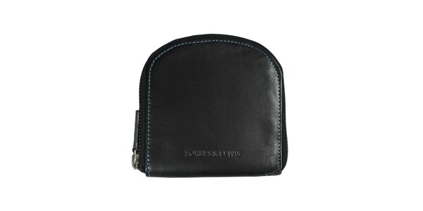 Dámská černá peněženka s modrým prošíváním Forbes&Lewis